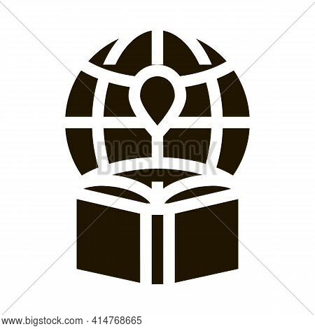Atlas Geographic Map Book Icon Vector. Geography Atlas And Earth Globe With Gps Mark, School Lesson