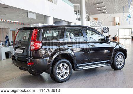 Russia, Izhevsk - February 17, 2021: Haval Showroom. New Modern Haval H5 Car In Dealer Showroom. Bac