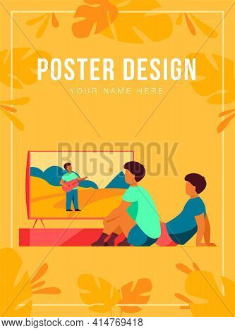 Children Watching Movie Or Show At Home. Boys Sitting At Tv Screen. Vector Illustration For Video, B
