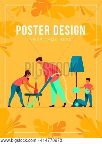 Happy Family Housekeeping Together Flat Vector Illustration. Daughter, Mother And Father Working For