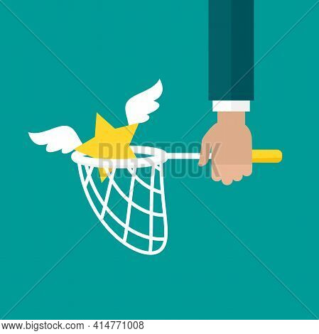 Businessman Hand Holds Butterfly Net With Star. Catch, Hunt, Chase Symbol. Achieve Goals Or Dreams C