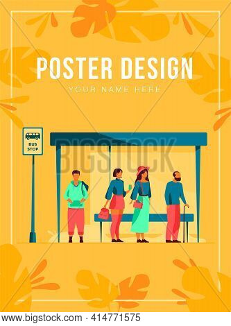 Passengers Waiting For Public Transport At Bus Stop Flat Vector Illustration. Cartoon Characters Usi