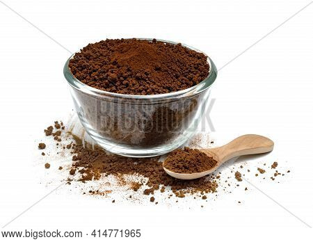 Instant Coffee Powder With Glass Bowl And Wooden Spoon Isolated On White Background