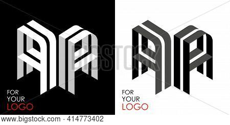 Isometric Letter A In Two Perspectives. From Stripes, Lines. Template For Creating Logos, Emblems, M