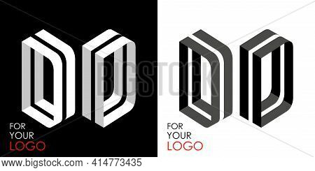 Isometric Letter D In Two Perspectives. From Stripes, Lines. Template For Creating Logos, Emblems, M