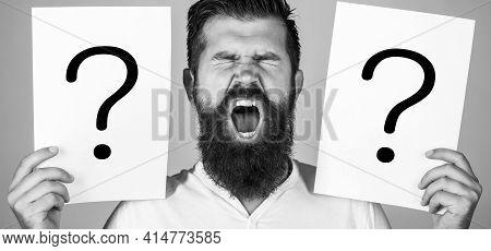 Male With Emotion Scream, Question Marks. Screaming Man. Getting Answers, Scream. Question Mark, Sym