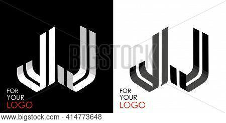 Isometric Letter J In Two Perspectives. From Stripes, Lines. Template For Creating Logos, Emblems, M