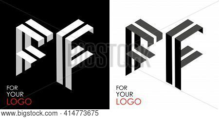 Isometric Letter F In Two Perspectives. From Stripes, Lines. Template For Creating Logos, Emblems, M