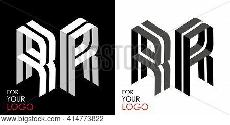 Isometric Letter R In Two Perspectives. From Stripes, Lines. Template For Creating Logos, Emblems, M