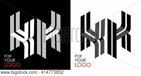 Isometric Letter K In Two Perspectives. From Stripes, Lines. Template For Creating Logos, Emblems, M