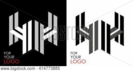 Isometric Letter H In Two Perspectives. From Stripes, Lines. Template For Creating Logos, Emblems, M