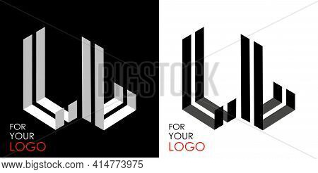 Isometric Letter L In Two Perspectives. From Stripes, Lines. Template For Creating Logos, Emblems, M