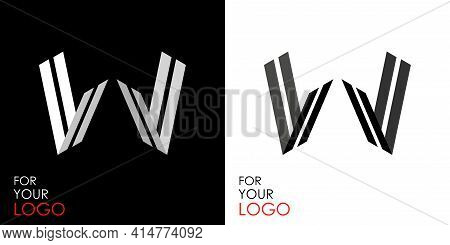 Isometric Letter V In Two Perspectives. From Stripes, Lines. Template For Creating Logos, Emblems, M