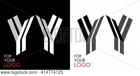 Isometric Letter Y In Two Perspectives. From Stripes, Lines. Template For Creating Logos, Emblems, M