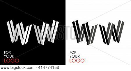 Isometric Letter W In Two Perspectives. From Stripes, Lines. Template For Creating Logos, Emblems, M