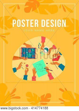 Creative Handmade Workshop Flat Vector Illustration. Children Making Creative Embroidery, Scrapbooki