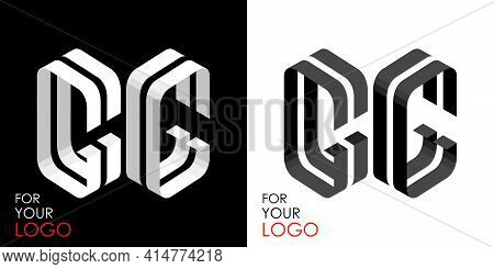 Isometric Letter G In Two Perspectives. From Stripes, Lines. Template For Creating Logos, Emblems, M