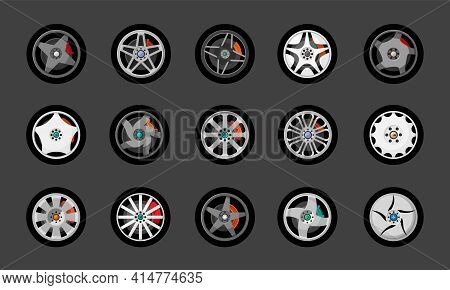 Modern Car Rims With Star Drawing Set. Creative Metallic Racing And City Transport Ribbed Round Desi