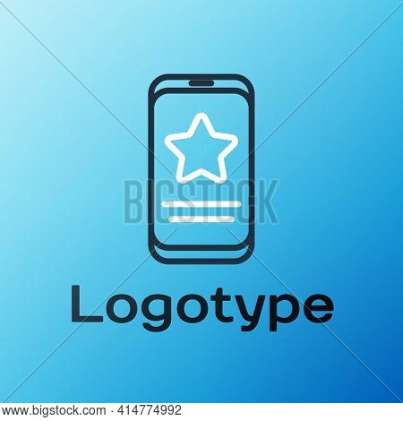 Line Mobile Phone With Review Rating Icon Isolated On Blue Background. Concept Of Testimonials Messa