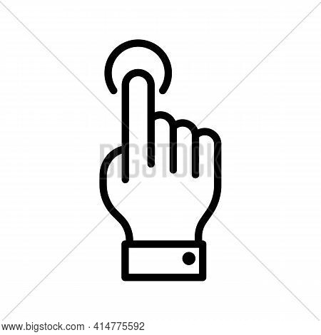 Click Hand Or Cursor Thin Line Icon In Black. Tap Or Touch With Round Halo Sign. Pointer Gesture Of