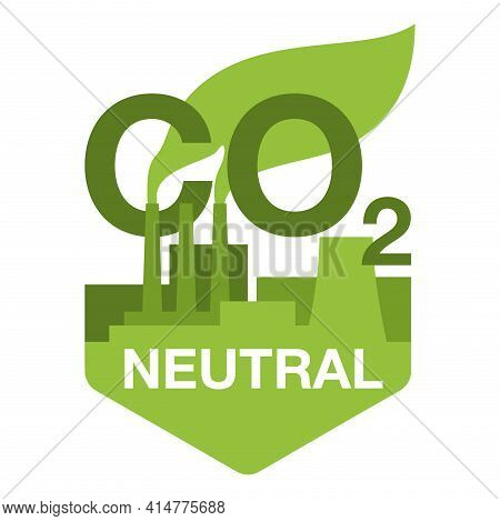 Co2 Neutral. Green Badge With Factory Silhouette, Net Zero Carbon Footprint - Carbon Emissions Free