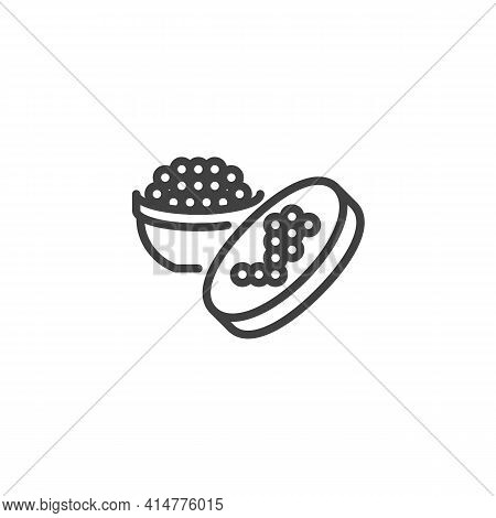 Caviar Jar Line Icon. Linear Style Sign For Mobile Concept And Web Design. Caviar Food Outline Vecto