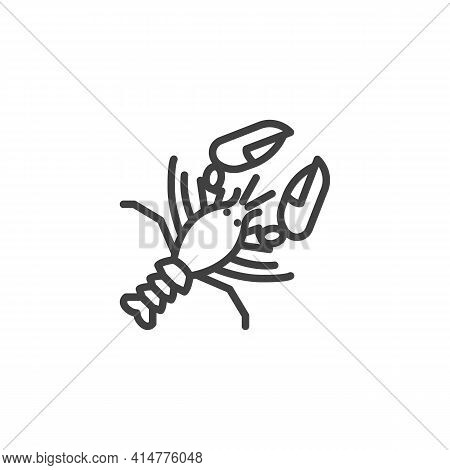 Lobster Seafood Line Icon. Linear Style Sign For Mobile Concept And Web Design. Fresh Lobster Food O