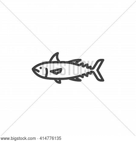 Tuna Fish Line Icon. Linear Style Sign For Mobile Concept And Web Design. Fresh Tuna, Seafood Outlin