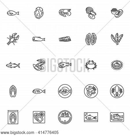 Seafood Menu Line Icons Set. Linear Style Symbols Collection, Outline Signs Pack. Japanese Food Vect