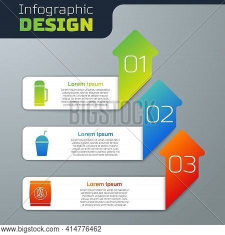 Set Thermos Container, Milkshake And Hard Bread Chucks Crackers. Business Infographic Template. Vect