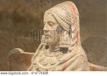 Madrid, Spain - March 6th 2021: Lady Of Baza, Side View. One Of The Most Important Piece Of Iberian