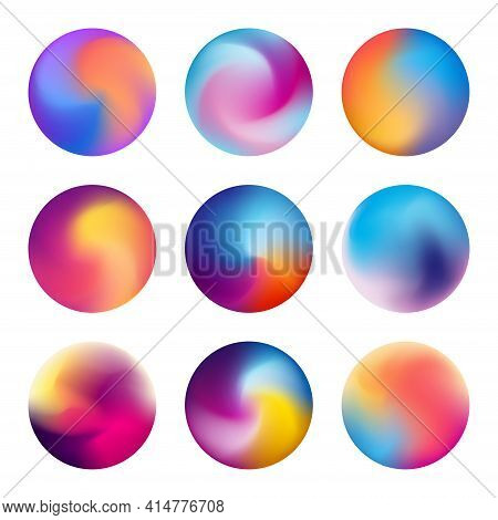 Multicolored Blurred Circles. Blurred Spheres With Gradient Meshes. Vibrant Colorful Circles With Bl
