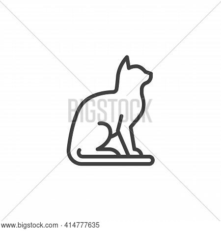 Cat Sitting Line Icon. Linear Style Sign For Mobile Concept And Web Design. Cat Animal Outline Vecto