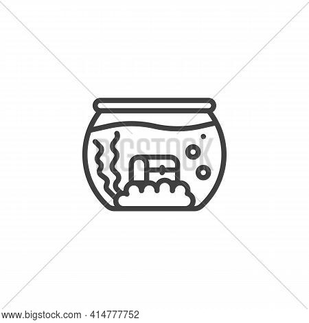 Aquarium With Treasure Chest Line Icon. Linear Style Sign For Mobile Concept And Web Design. Fish Aq