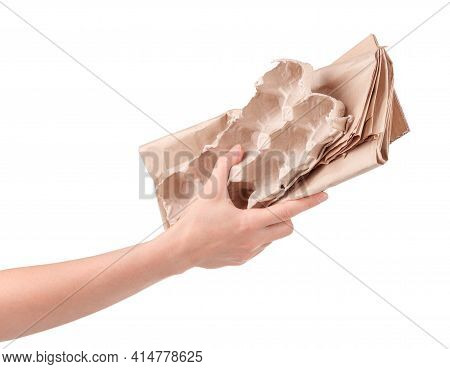 Household Waste Paper And Egg Tray In Female Hand Isolated On White Background