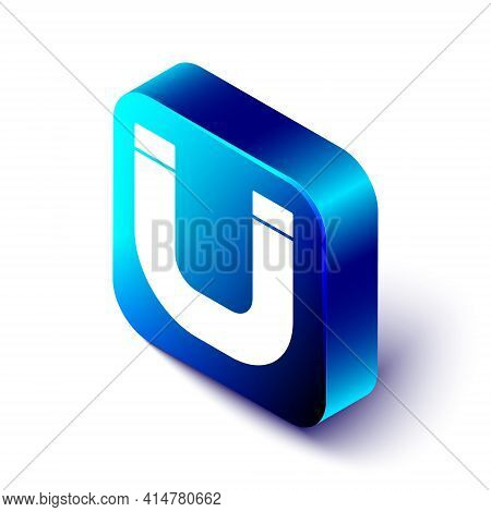 Isometric Magnet Icon Isolated On White Background. Horseshoe Magnet, Magnetism, Magnetize, Attracti