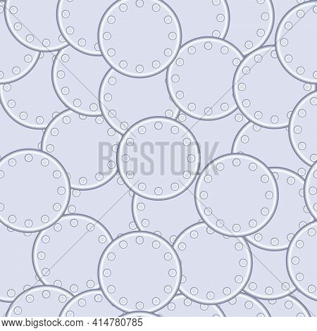 Seamless Texture In The Form Of Round Metal Plates Fastened Together With Rivets