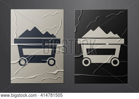 White Coal Mine Trolley Icon Isolated On Crumpled Paper Background. Factory Coal Mine Trolley. Paper