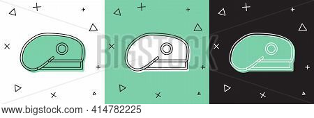 Set Military Beret Icon Isolated On White And Green, Black Background. Soldiers Cap. Army Hat. War B
