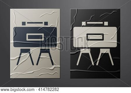White Military Mine Icon Isolated On Crumpled Paper Background. Claymore Mine Explosive Device. Anti