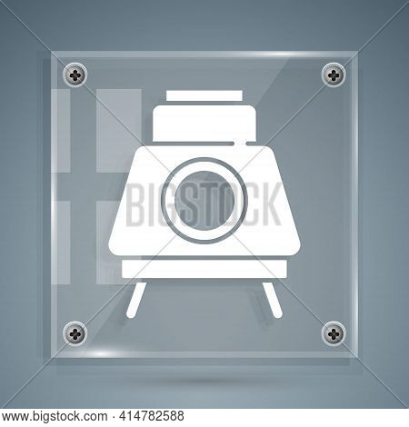White Mars Rover Icon Isolated On Grey Background. Space Rover. Moonwalker Sign. Apparatus For Study