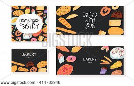 Bakery Calling Card, Banner Templates Set. Traditional Italian, Belgian, German, Spanish Sweet Pastr