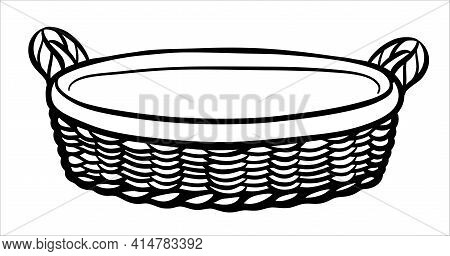A Hand-drawn Wicker Picnic Basket Or Vegetable Basket. A Black And White Basket With A Handle Made O