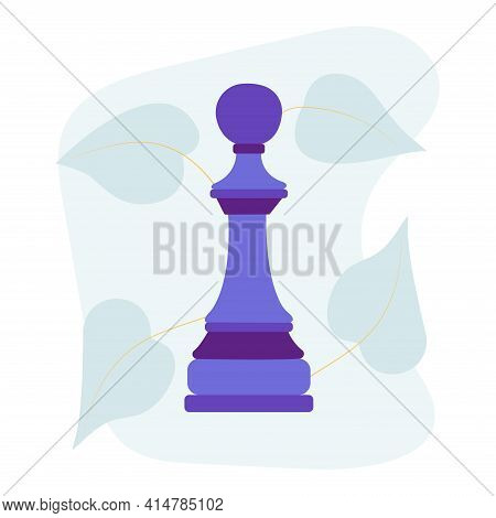 Chess Piece Pawn. Vector Flat Colorful Isolated Illustration. Abstract Blue Stain And Leaves On Back