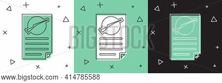 Set Firearms License Certificate Icon Isolated On White And Green, Black Background. Weapon Permit.