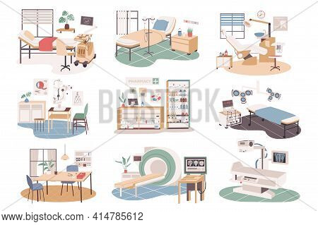 Medical Center Isolated Scenes Set. Cabinets Of Therapist, Ophthalmologist, Dunstit. Therapy Ward, M