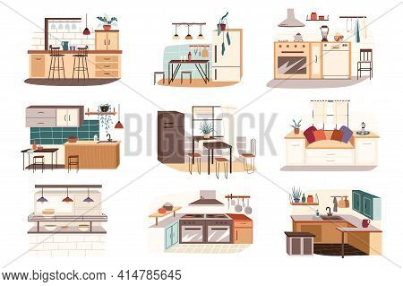 Different Kitchen Isolated Scenes Set. Dining And Kitchen Tables, Furniture Sets, Household Applianc
