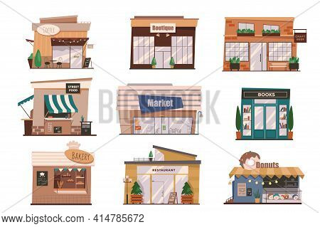 Restaurants And Shops Facades Isolated Scenes Set. Buildings Of Coffee, Boutique, Street Food, Marke