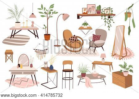 Home Furniture And Decor Isolated Elements Set. Armchairs, Coffee Table, Mirror, Lamps, Plants, Shel