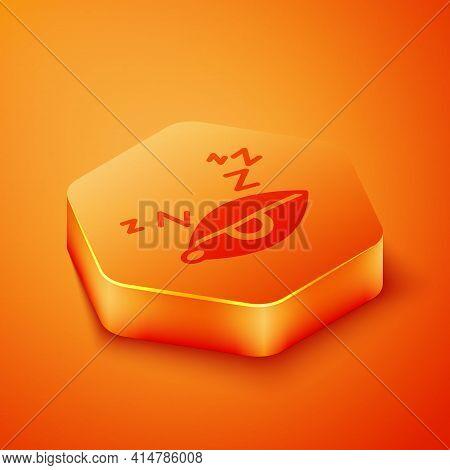 Isometric Insomnia Icon Isolated On Orange Background. Sleep Disorder With Capillaries And Pupils. F